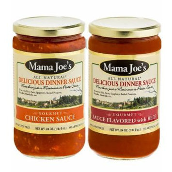 Mama Joe's Delicious Gourmet Sauce - Chicken & Beef Steak. Meat Stew Bolognese Spaghetti Pasta Rice Meatballs. All Natural Gluten Free No High Fructose Corn Syrup No MSG Reduced Sodium 2Pack - 24oz