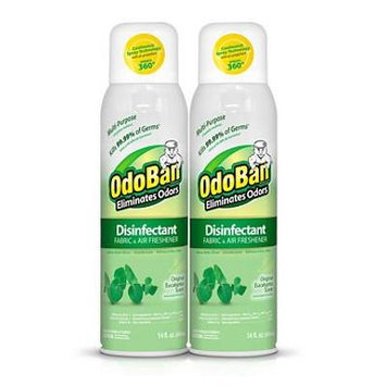 OdoBan Disinfectant Fabric and Air Freshener Spray, Eucalyptus Scent (14 Ounces, 4 Pack)