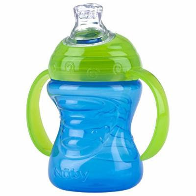 Nuby 2 Handle Super Spout No Spill Cup, Blue/Green, 8 Ounce