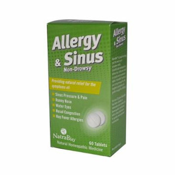 New - NatraBio Allergy and Sinus Non-Drowsy - 60 Tablets