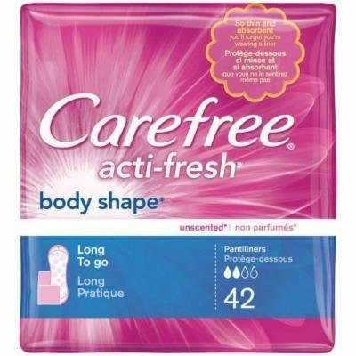 Carefree Acti-Fresh Body Shape Pantiliners, To Go, Long, Unscented, 42 CT (PACK OF 2)