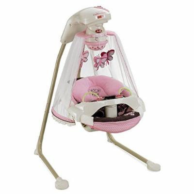 Fisher Price Butterfly Pink Mocha Mobile Baby Papasan Deluxe Cradle Swing
