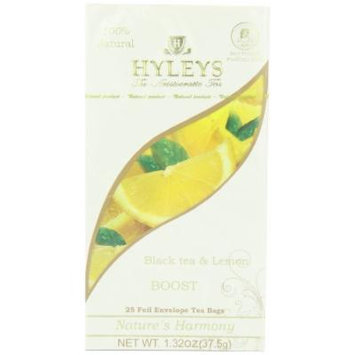 Hyleys Tea Nature's Harmony Black Tea Bags with Lemon In Foil Envelopes, 1.32-Ounce Packages (Pack of 12)