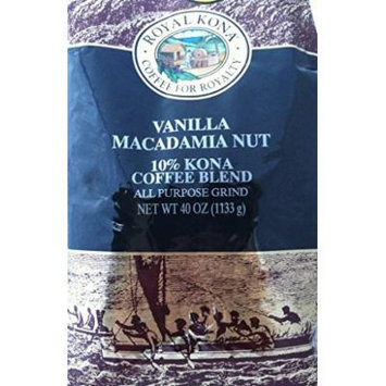 Royal Kona Brand Vanilla Macadamia Nut (10% Kona Coffee) 40 Ounces All Purpose Grind