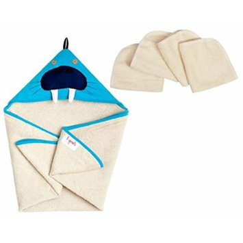 3 Sprouts Hooded Towel with Organic Wash Cloths, Walrus