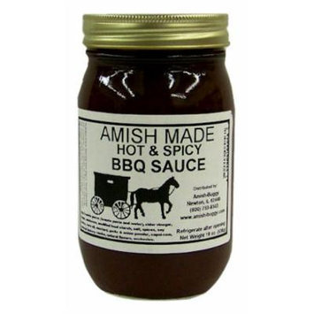 Amish Buggy BBQ Sauce, Hot and Spicy, 16 Ounce (Pack of 12)