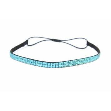 Two Row Bling Rhinestone Headband/ Elastic Stretch/ Rhinestone Hair Band Hair Accessory (Turquoise Thin Headband)