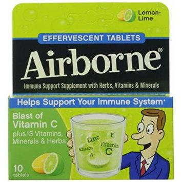 Airborne Immune Support Supplement, Effervescent Tablets, Lemon Lime, 10-Count