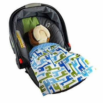 Car Seat Blankie Giraffes (Blue) - Universal Blanket for Car Seats, Beautiful Patterns, Handmade in USA.