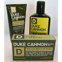 Mens Duke Cannon Grooming Bundle of 3 products; 1 6oz Superior Grade Shaving Cream, 1 10 oz Smells Like Victory Soap Bar, 1 Hard-working 2-in-1 Hair Wash