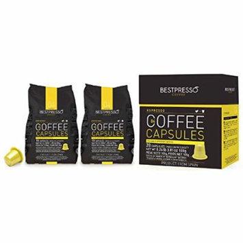 80 Bestpresso Nespresso Compatible Gourmet Coffee Capsules - Nespresso Pods Alternative: Espresso Blend Natural Espresso Flavor (Medium Intensity) - Certified Genuine Espresso