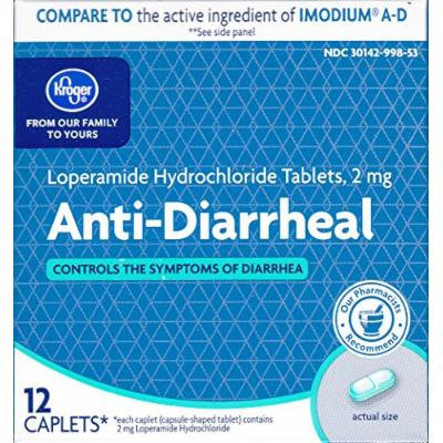 Kroger Anti-Diarrheal, Loperamide Hydrochloride 2 mg, 12 caplets, Compare to active ingredient in Imodium A-D