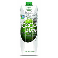 Coco Libre Organic Coconut Water 1 Liter. Pack of 4. (33.8 Fl Oz.) - Gluten Free.