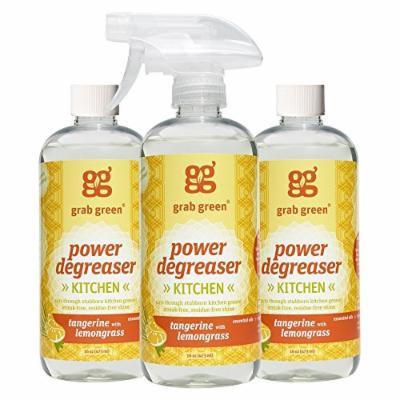 Grab Green Natural Power Degreaser Cleaner, Tangerine with Lemongrass, 16 Ounce (Pack of 3)