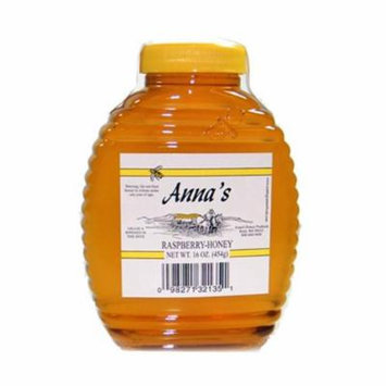 Raspberry Honey Beehive Bottle, 16 oz - Grade A, Natural, Raw Honey - by Anna's Honey (Pack of 4)