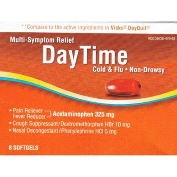 Multi-Symptom Relief Daytime Cold & Flu, 8 softgels, Compare to active ingredient in Vicks Dayquil
