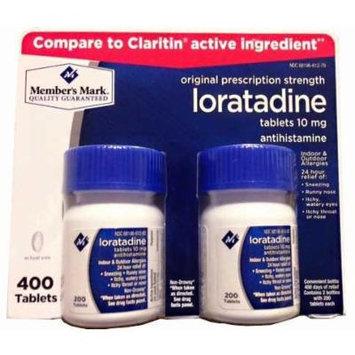 Member's Mark Non Drowsy Loratadine 10 mg Antihistamine 24 Hour Allergy Relief (4 bottles (800 tablets))