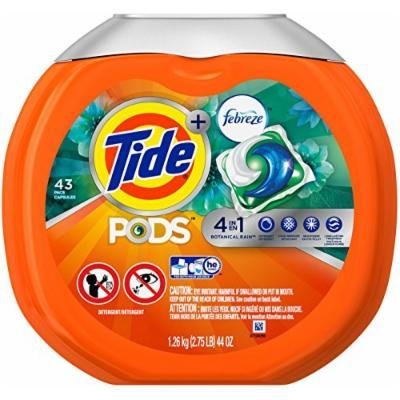 Tide PODS Plus Febreze Laundry Detergent Packs Bag, Botanical Rain, 43 Count