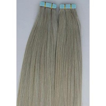 18 inches 100grs,40pcs, Human Tape In Pastel Hair Extensions #Ash Silver Gray (beige blonde based)