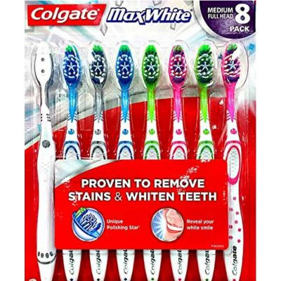 Colgate MaxWhite Toothbrush Full Head, Soft, 8-Count Package