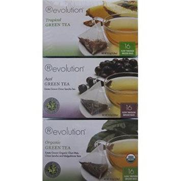 Revolution Green Tea Collection - Organic Green Tea, Tropical Green Tea and Acai Green Tea - 16 Ct - Bundle of 3