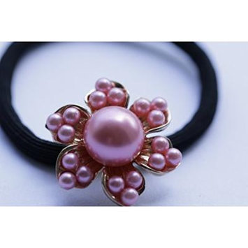 ZTHY NEW Elastic Fashion Women Pearls Beads Hair Band Rope Scrunchie Ponytail Holder-pink 1
