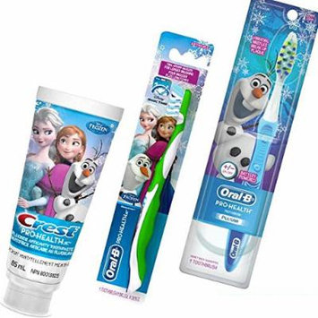 Disney Frozen 3pc Bright Smile Collection! (1) Battery Powered Turbo Toothbrush With Vibrating Bristles (1) Olaf Soft Manual Toothbrush Plus Bonus Disney Frozen Crest Pro Health Jr. Fluoride Anticavity Toothpaste!