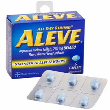 Pain Relief - Aleve Caplets, 6-ct. Packs - Travel Size (2 Pack)