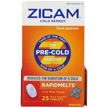 Zicam Cold Remedy Plus Rapid Melts Tablets, Cool Mint Flavor, 25 Count (6 Pack)