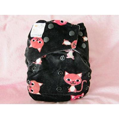 Kawaii Mom Label Minky Bamboo Charcoal One Size Pocket Diaper, Kittens