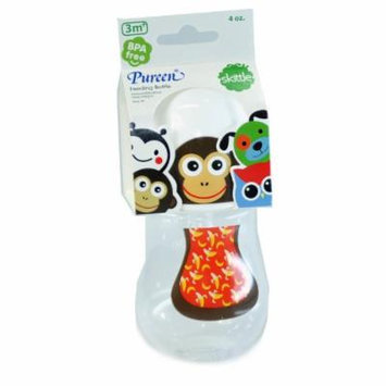 New Pureen Skittle Baby Feeding Bottle BPA Free 4 oz for 3 months (Monkey)