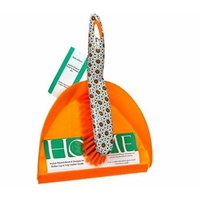 Decorative Orange Floral Dustpan and Brush Set