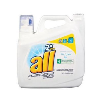 All 2x Ultra Free Clear Liquid Laundry Detergent, 150 Oz