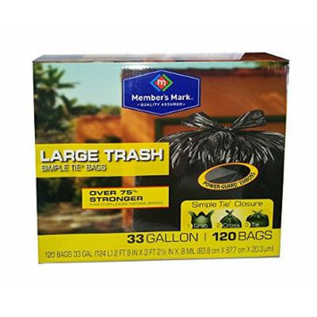 Member's Mark Large Simple Tie Trash Bags - 33 Gallon - 120 Bags