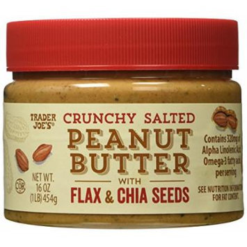 Trader Joe's Crunchy Salted Peanut Butter with Flax and Chia Seeds 2 Pack 16 Oz Jars