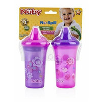 Nuby 2 Pack Printed Non Spill Cup with Hard Top, Pink Purple (9 Ounce),