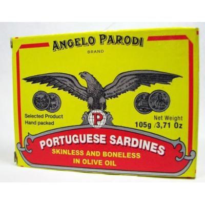 Angelo Parodi Brand Portuguese Sardines Skinless and Boneless in Olive Oil 105 Gr