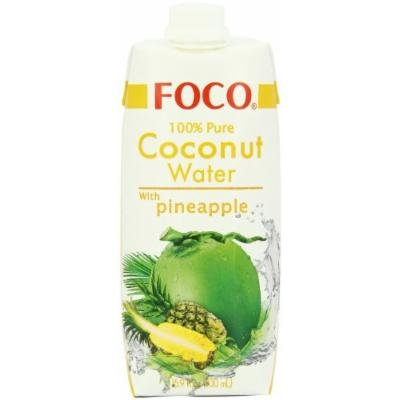 FOCO Pure Coconut Water with Pineapple, 16.9Ounce (Pack of 12)