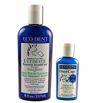 Eco-Dent Premium Oral Care Mint Rinse And Toothpowder Bundle: (1) Eco-Dent Ultimate Essential MouthCare Natural DailyRinse Sparkling Clean Mint, 8 Oz., and (1) Eco-Dent DailyCare Baking Soda Toothpowder Original Mint, 2 Oz. (2 Items Total)