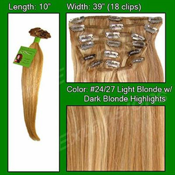 #24/27 Light Blonde w/ Dark Blonde Highlights - 10 inch