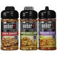 Weber All Natural Seasoning Blend 3 Flavor Variety Bundle: (1) Weber N'Orleans Cajun Seasoning Blend, (1) Weber Roasted Garlic & Herb Seasoning Blend, and (1) Weber Kick'N Chicken Seasoning Blend, 5.0 - 5.5 Oz. Ea.