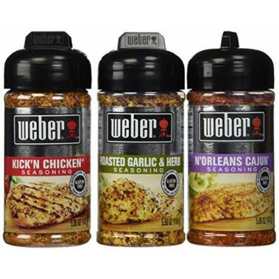 Weber All Natural Seasoning Blend 3 Flavor Variety Bundle: (1) Weber N'Orleans Cajun Seasoning Blend, (1) Weber Roasted Garlic & Herb Seasoning Blend, and (1) Weber Kick'N Chicken Seasoning Blend, 5.0 - 5.5 Oz. Ea.