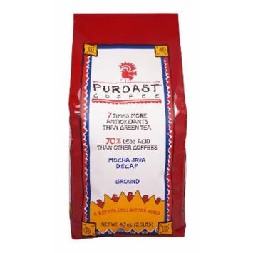 Puroast Low Acid Coffee Mocha Java Natural Decaf Grind, 2.5 Pound Bag