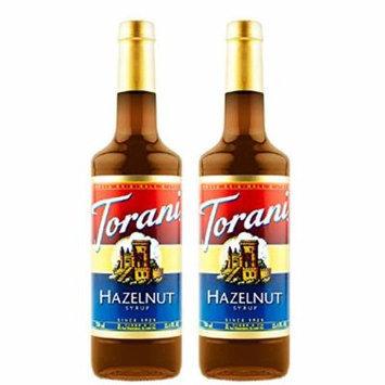 Torani Hazelnut, Vanilla, Strawberry, Peach, Raspberry 750ml Syrup (Hazelnut, 2 Pack)