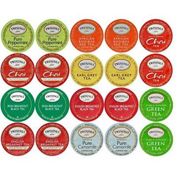 20-count TWININGS TEA K-Cup Variety Sampler Pack, Single-Serve Cups for Keurig Brewers
