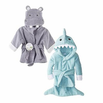Baby Aspen Terry Cotton Hooded Baby Bath Robe, Twin Pack, Hippo/Shark