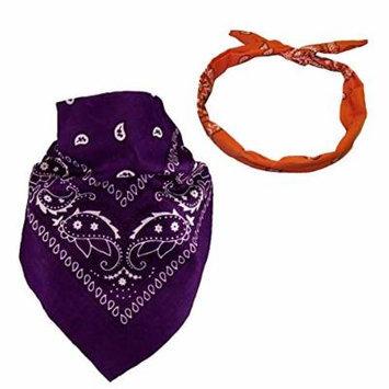 Set Of 2-Purple Paisley Bandanna and a *FREE* Orange Paisley Wire Headband CoverYourHair®