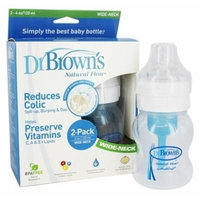 Dr. Brown's Natural Flow 4oz Wide Neck Baby Bottles Pack of 2 ~New~