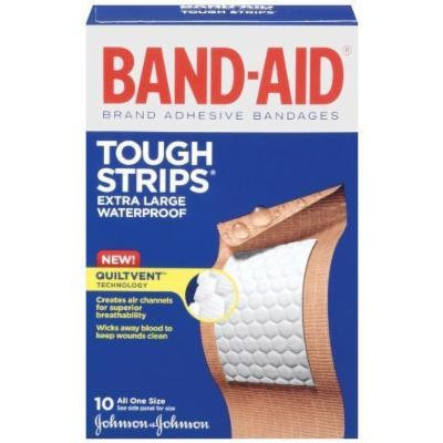 Band-Aid Tough Strips Waterproof Adhesive Bandages, Extra Large, 10 Count