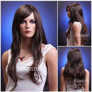 (WG-ZL174-2T33) Long Wave Hair Wig, Dark brown color.
